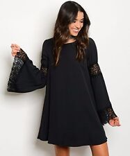 COWGIRL GYPSY Black Boho Dress Lace Detail Bell Sleeve Country Western SMALL lbd