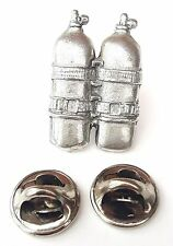 Twin Diving Air Tanks Handcrafted in Solid Pewter In UK Lapel Pin Badge