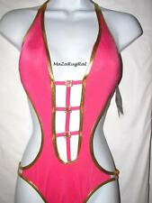 $86 Baby Phat Padded 1 Piece Monokini Rhinestone /Gold Trim Swimsuit NWT S