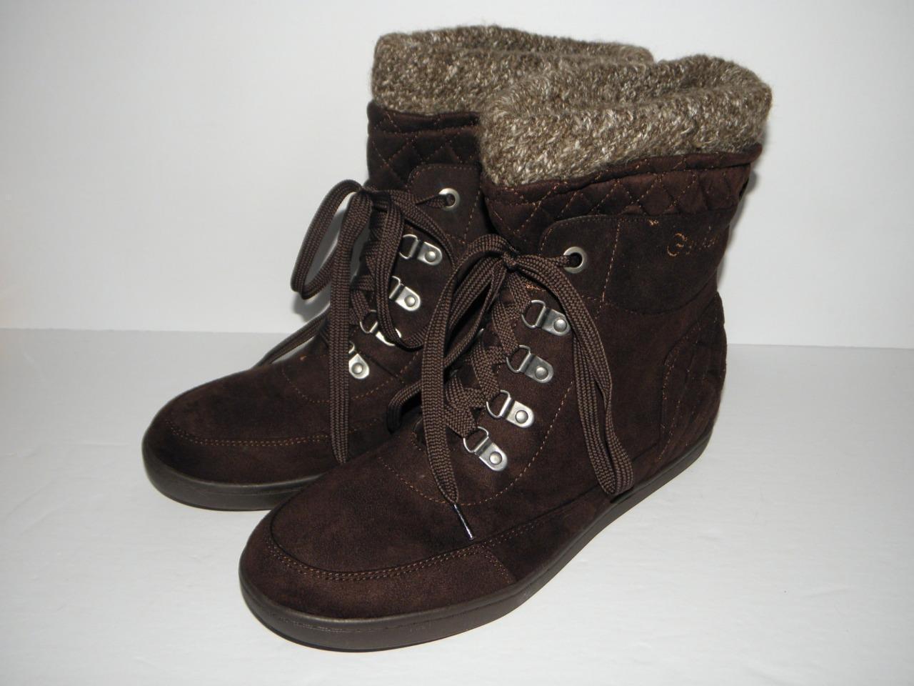 G by Guess Womens PUCK Dark Dark Dark Brown Fabric Quilt Design Boots size 10 Medium (NEW) 6529d0