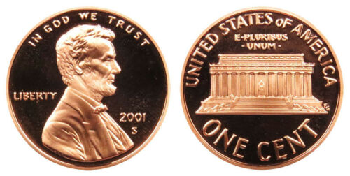 FREE SHIPPING! 2001-S Proof Lincoln Memorial Cent Penny Deep Cameo