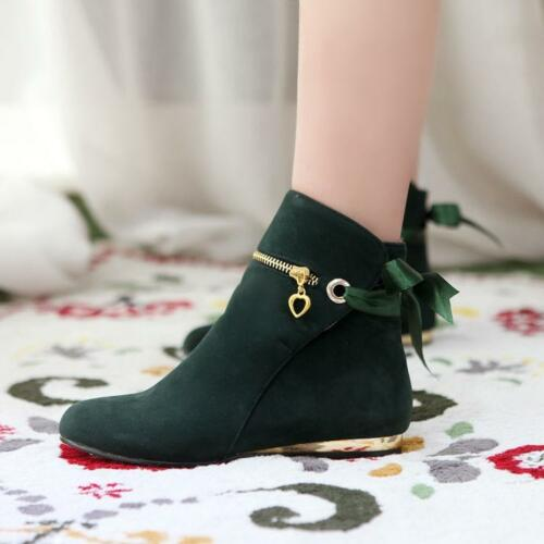 Women Leisure Flat Faux suede Pull on Pumps Ankle Boots Plus Sz