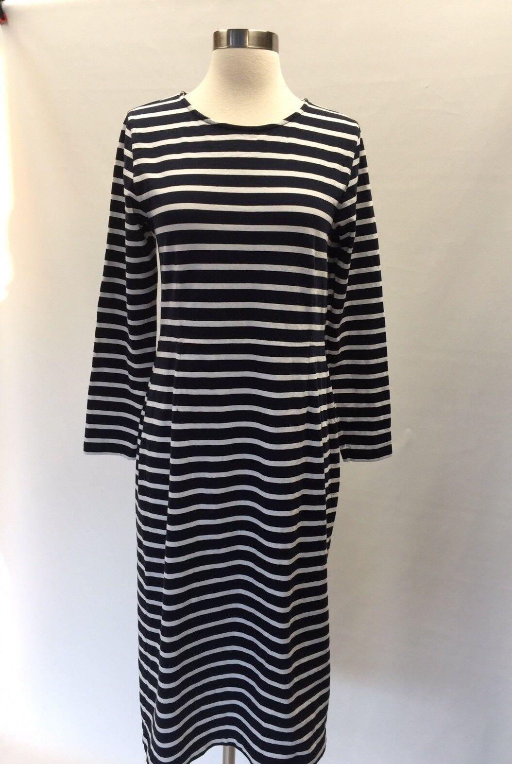 J.Crew Long Sleeve Navy Weiß Striped Cotton Sheath Dress G7980 Größe 10 New