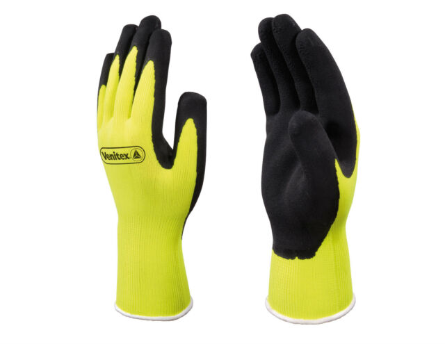 x2 Pairs Delta Plus Venitex VV733 Apollon High Visibility Yellow Coated Gloves