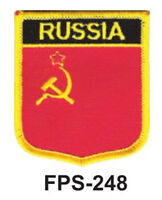 2-1/2'' X 2-3/4 Russia Flag Embroidered Shield Patch