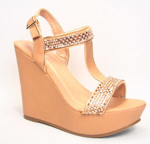 7ef57cf682a63 Details about Women s Sexy Bridal Rhinestone T- Strap Buckle Wedge Heel Sandal  Shoes Size 6-10