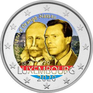 2-Euro-Gedenkmuenze-Luxemburg-2020-coloriert-mit-Farbe-Farbmuenze-Prinz-Henri-1