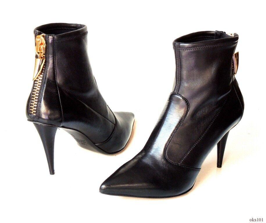 new Giuseppe $995 Giuseppe new ZANOTTI 'Ester' schwarz leather GOLD ZIPPER ankle Stiefel 38.5 8.5 41dd7d