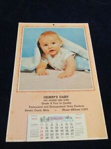 Vtg 1962 Calendar Gilbert's Dairy Swartz Creek MI Unused Baby under Blanket S93