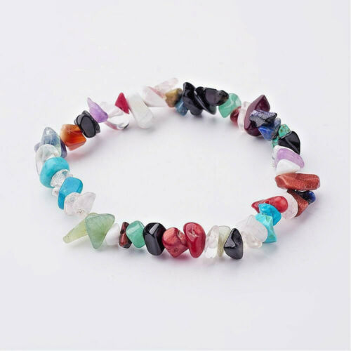 Natural Mix Gemstone Chip Stretch Bracelet Chakra Healing UK