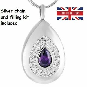 Purple-Diamante-Keepsake-Jewellery-Cremation-Urn-Pendant-Ashes-Necklace-Memorial