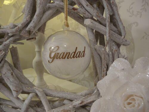 Mum Remembrance Christmas Bauble Personalised Grandma Gold Grandad Dad