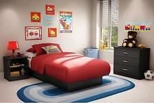 Twin Size Contemporary Black Finish Platform Bed Frame Bedroom Furniture