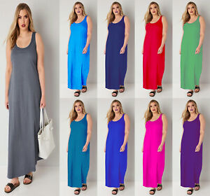 Women-Ladies-Racer-Muscle-Back-Jersey-Long-Summer-Vest-Maxi-Dress-Plus-Size-8-26
