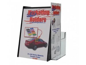 Black Ballot Box with Holder for 5.5 by 8.5 Inch Sign and a Brochure Pocket