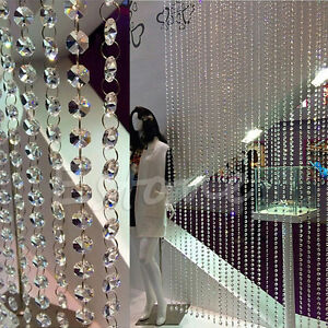 100pcs-Clear-Glass-14MM-Octagonal-Beads-Decoration-Chandelier-Parts