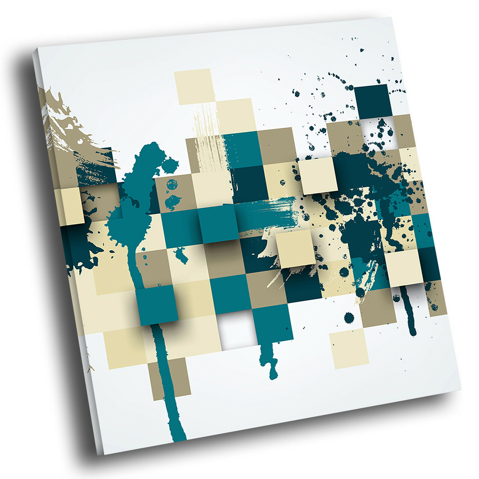 Blau grau Teal Cool Square Abstract Photo Canvas Wall Art Large Picture Prints
