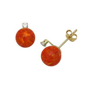 Candid Arancione Opale Di Fuoco A Sfera Orecchini A Lobo Spingere Indietro 14k Cheap Sales Fine Jewelry