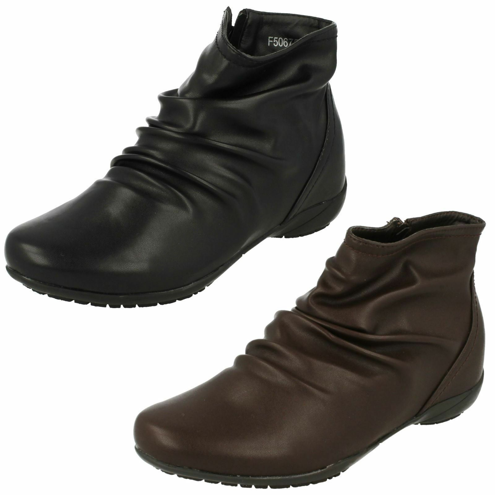 Down To Earth F50675 Ladies Black or Brown Zip Up Casual Synthetic Ankle Boots