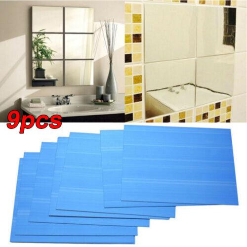 9 Pcs Silver Mirror Tiles Self Adhesive Back Square Bathroom Wall Sticker Decor