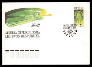 LITHUANIA-1991-USED-POSTAL-STATIONERY-RESTORED-INDEPENDENT-LITHUANIA-REPUBLIC