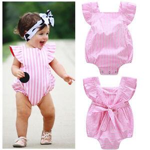 Cute Infant Baby Kids Girl Clothes Bow Bodysuit Romper Jumpsuit Outfits Sunsuit