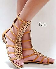 fa4c8bd9f1e item 6 New Women Fa12 Red Tan Beige Rhinestone Mid Calf Roman Gladiator  Flat Sandals -New Women Fa12 Red Tan Beige Rhinestone Mid Calf Roman  Gladiator Flat ...