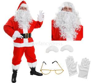DELUXE-SANTA-COSTUME-10-PIECE-PLUSH-FATHER-CHRISTMAS-FANCY-DRESS-XMAS-S-XXXXL