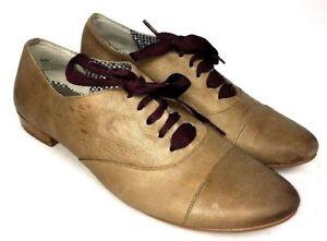 BP-Tan-Leather-Lace-Up-Oxfords-Women-039-s-Shoes-Sz-8-5M
