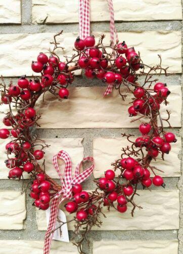 Baies couronne Couronne de 19cm rouge automne wandkranz branches drahtreif Fruits Baies d/'hiver