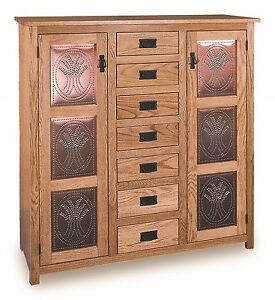 Amish Pie Safe Wheat Tin Door Panels Kitchen Pantry Cupboard Shelves Solid Wood