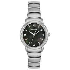 Bulova Women's Diamond Accents Black Dial Silver-Tone Bracelet 28mm Watch 96R213