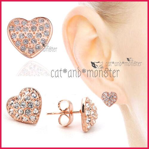 18K ROSE GOLD GF LADIES GIRLS DRESS CRYSTAL HEART STUD EARRINGS MOTHER DAY GIFT