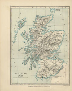 picture relating to Printable Map of Scotland identified as Information and facts relating to Antique Print - Map - Scotland in just 1285