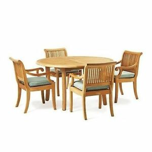 "5-Piece Outdoor Teak Dining Patio Set: 48"" Round Table, 4 ..."