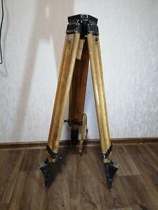 Vintage-Wooden-Tripod-USSR-Soviet-for-Theodolite-Nivelir-Camera-1976-year