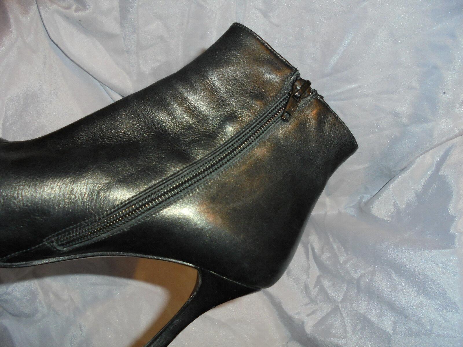 AZUREE WOMEN'S BLACK LEATHER ZIP ANKLE BOOTS SIZE UK 6 EU 39 VGC