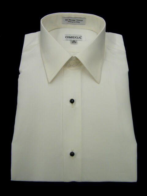 NEW Microfiber Ivory Tuxedo Shirt 'Laydown Collar', Non pleat