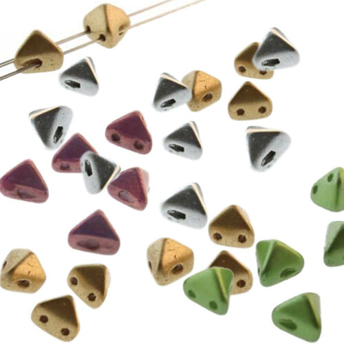 2 Hole Super Kheops Par Puca 6mm Pyramid 30 Czech Pressed Glass Beads U-Pick