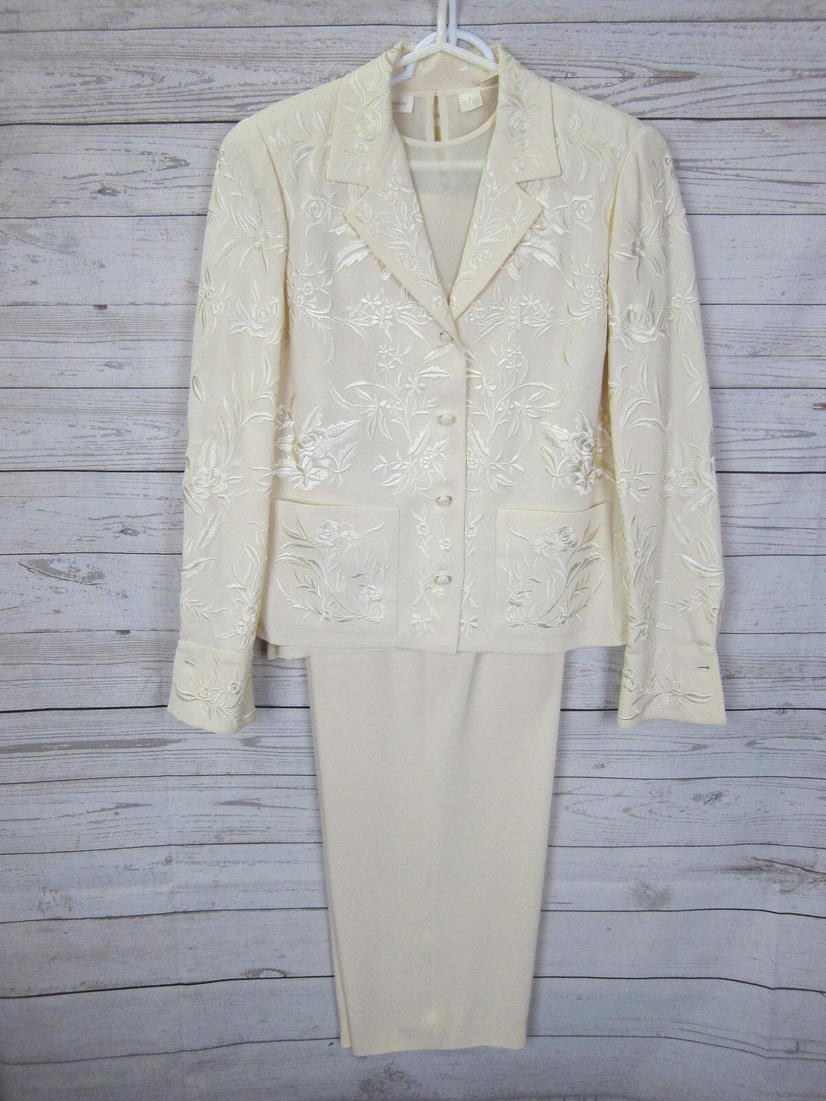 4 piezas  traje Dana Buchman Chaqueta, azulsa, Camiseta sin mangas, Pantalones De Seda Talla 10 Vintage  autentico en linea