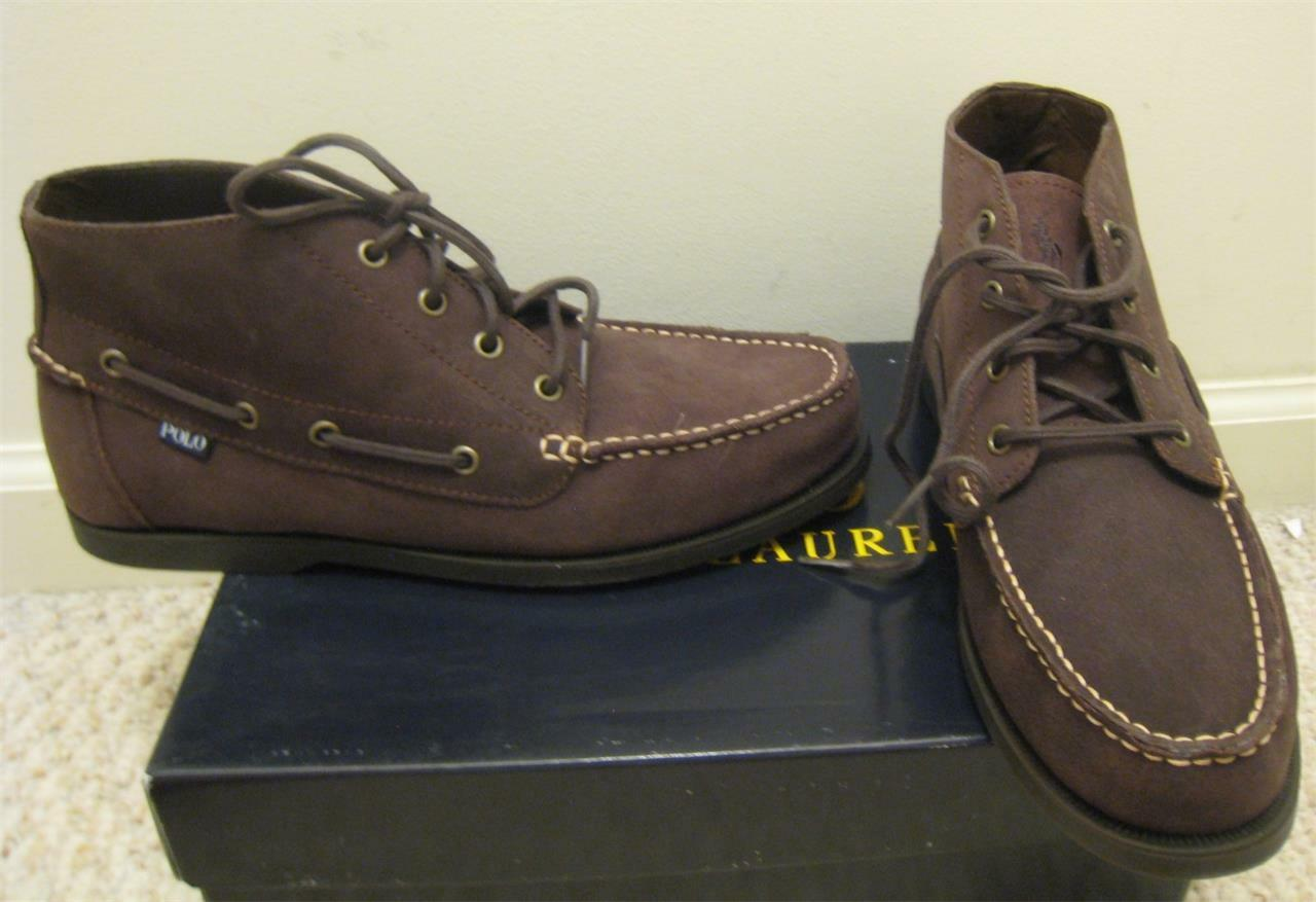 NEW POLO RALPH LAUREN Uomo Brown Oiled Suede Uomo Stivali Shoes 11.5 D 10.5 44.5