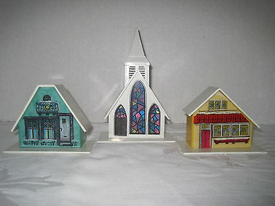 Alpine Village Plastic Houses Church Lot 3 Yellow Green White Vintage Christmas