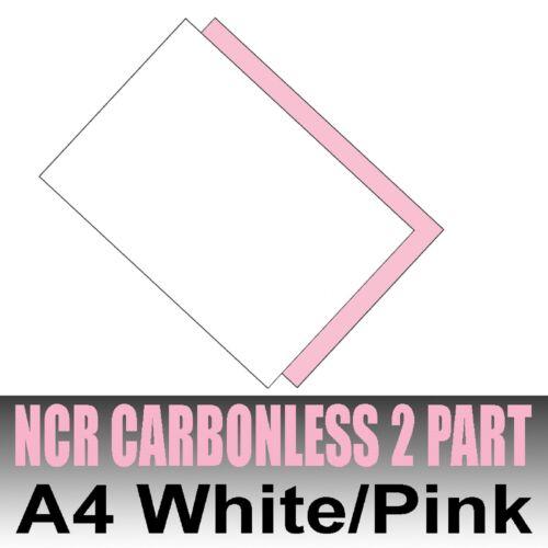 Inkjet /& Laser 25 sets x A4 Carbonless NCR Duplicate Print Paper White /& Pink