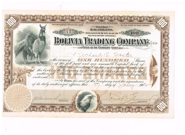Bolivia Trading Co., 1902, beautiful !