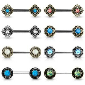Brustwarzenpiercing-Nippelpiercing-Brustpiercing-Vintage-Blume-Intim-Barbell