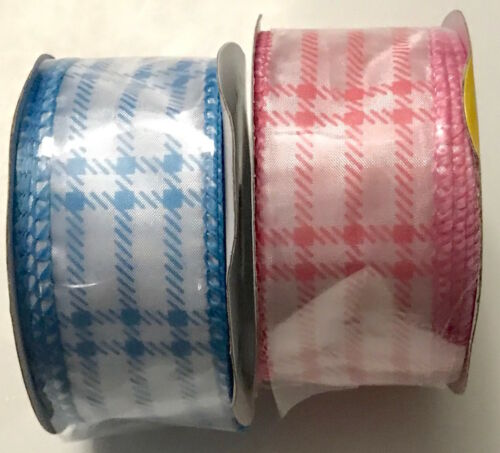 Bundle of 5 Baby Shower Wire Edged Ribbon 3 yds Boy Girl Pink Blue NEW