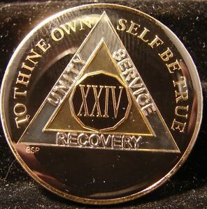 Black Silver Gold Tri Plate Alcoholics Anonymous AA 24 Year Medallion token