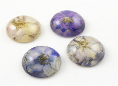 25mm Handmade Resin Dried Flower CabochonsPurple /& WhiteMixed Pack 5pcs