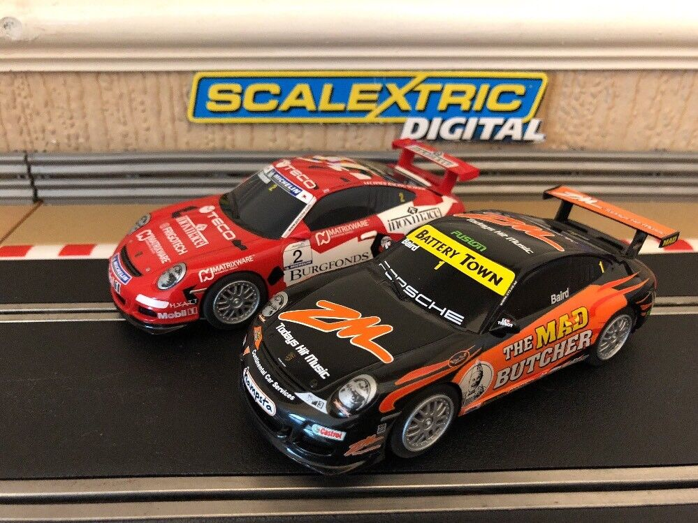 Scalextric Digital Porsche 997 x2 Excellent Condition Fully Serviced New Braids