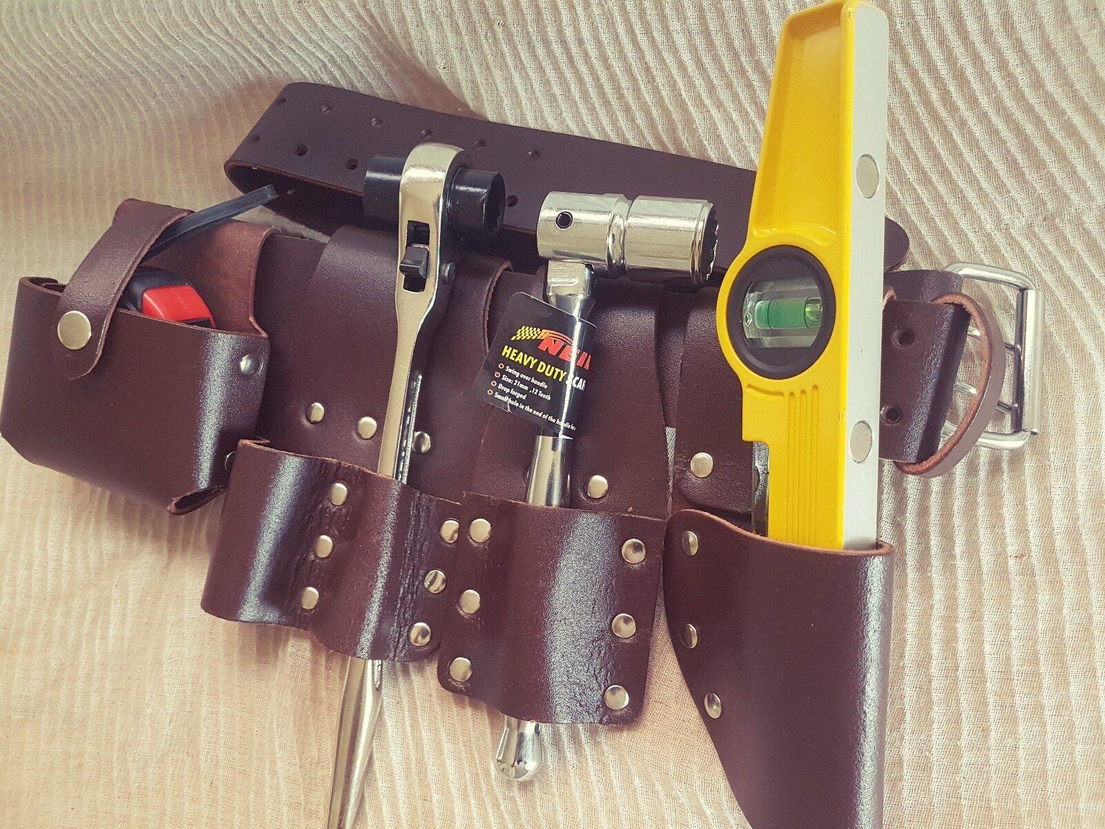 Scaffolding Brown Leather Tool Belt Full ToolSet Ratchet Spanner Level Tape